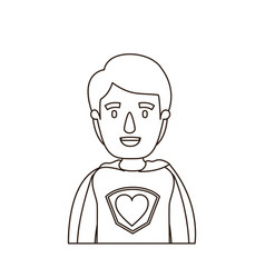 Sketch contour caricature half body super hero vector
