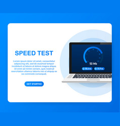 Speed test on laptop speedometer internet speed vector
