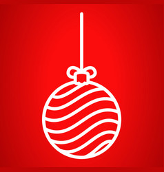 striped xmas tree ball icon outline style vector image
