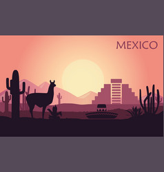 stylized landscape mexico with a llama vector image