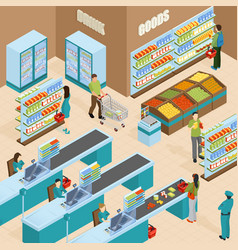 Supermarket isometric design concept vector