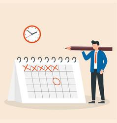 Time management deadline brand event man vector