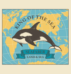Travel banner with killer whale and world map vector