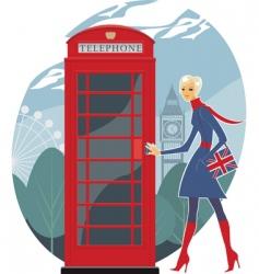 urban girl walking in london vector image