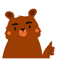 with funny brown bear showing thumbs up vector image
