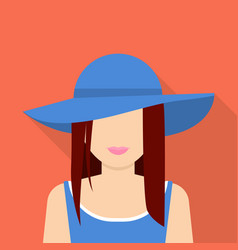 Woman in hat icon flat style vector