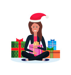 woman red hat sitting lotus pose gift box vector image