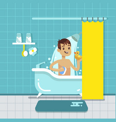 young man in bathroom home interior with shower vector image