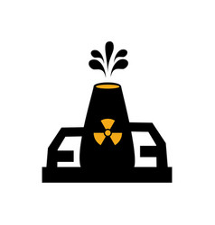 monochrome silhouette with nuclear reactor symbol vector image