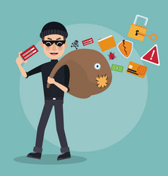 scene color thief man hacker with stealing vector image vector image