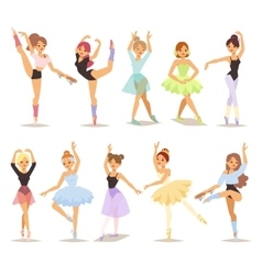 ballerina dancers set vector image vector image