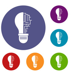 circuit board inside light bulb icons set vector image