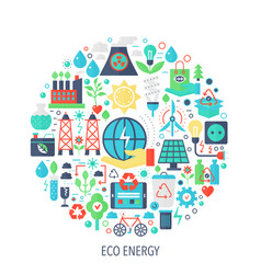 eco green energy flat infographics icons in circle vector image vector image