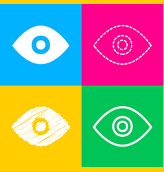 eye sign four styles of icon on four vector image
