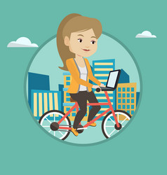 woman riding bicycle in the city vector image vector image