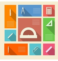 Colored icons for school supplies with place for vector image vector image