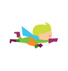 flying kid in superman costume vector image