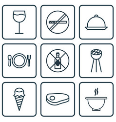 Set of 9 eating icons includes dessert wineglass vector