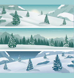 three snowy landscapes banner with wild nature vector image vector image