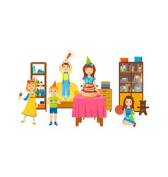 children having fun in room on a holiday evening vector image vector image