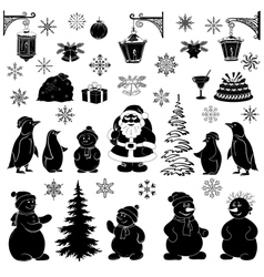 Christmas cartoon set black silhouettes vector image vector image