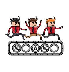 color pencil cartoon teamwork riding an belt with vector image