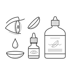 eye contact lenses elements vector image