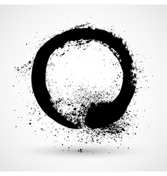Ink grunge circle frame vector image