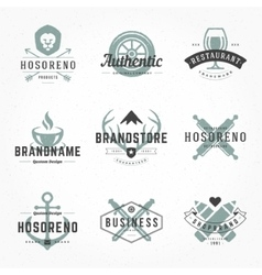 Retro Hand Drawn Logos Templates Set vector image vector image