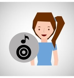 smiling girl music disk note vector image