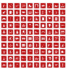 100 amusement icons set grunge red vector image