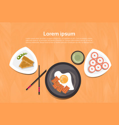 Asian food set korean thai dishes top angle view vector