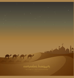 beautiful islamic background with camels walking vector image