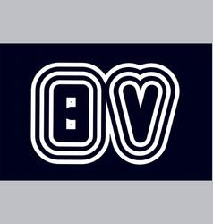 black and white alphabet letter combination bv b vector image