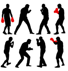 Black set silhouette of an athlete boxer on a vector