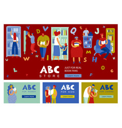 book store people horizontal banners vector image