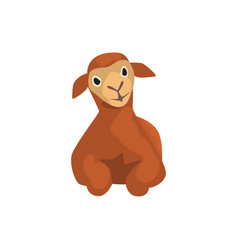 Brown lamb lying cute farm animal front view vector