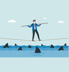 businessman walking a tightrope with balancer vector image