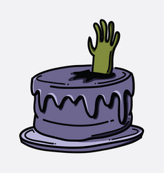 cake zombie hand doodle color icon drawing sketch vector image