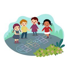 cartoon kids playing hopscotch vector image