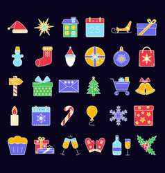 Christmas icons set in colored line style vector