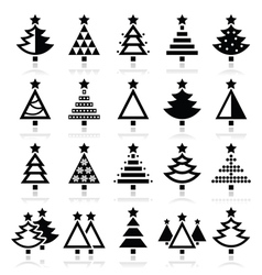 Christmas tree - various types icons set vector image
