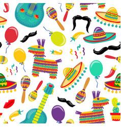 cinco de mayo seamles pattern with fiesta vector image