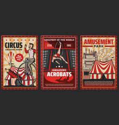 Circus acrobats carnival top tents ferris wheel vector