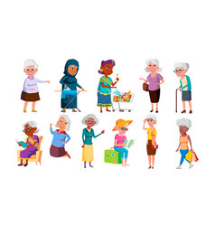 collection of mulicultural old granny set vector image