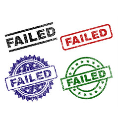 Damaged textured failed seal stamps vector