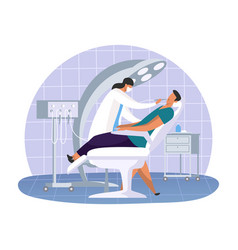 Dental office with dentist woman and patient vector