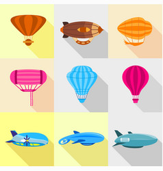 Different airships icons set flat style vector