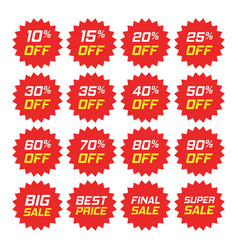 Discount stickers icon in flat style sale tag vector