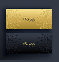 elegant gold and black mandala banners vector image